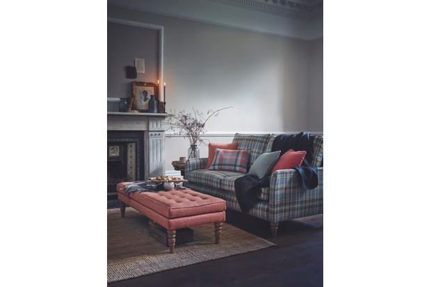 'Austin' large sofa in 'Glen Coe' fabric, £2,259; 'Wexham' footstool in 'Parquet' fabric, £519, both Multiyork