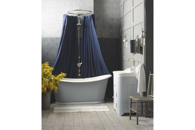 'Bateau' cast-iron bath, from £4,920; antique cabinet basin, £2,719, The Water Monopoly