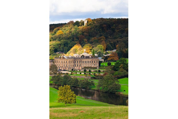 A view of Chatsworth House and Hunting Tower from across the River Derwent