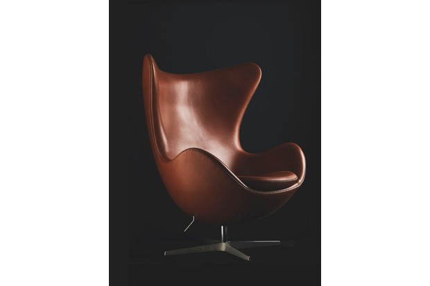 An Arne Jacobsen Egg Chair in luxurious brown leather