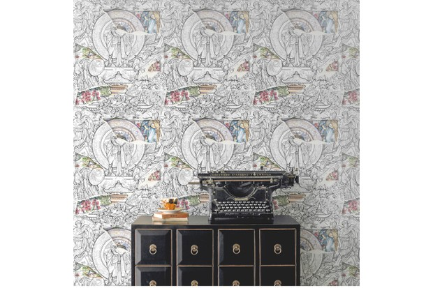 A black drawer unit in front of a wall decorated in heritage wallpaper
