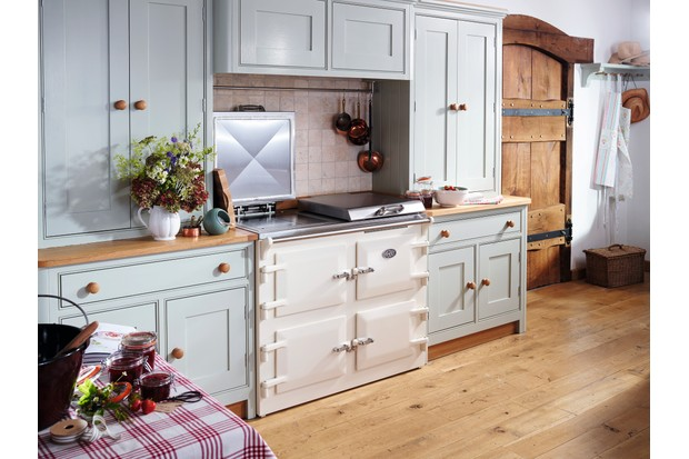 A pale blue countryside kitchen with an Everhot range