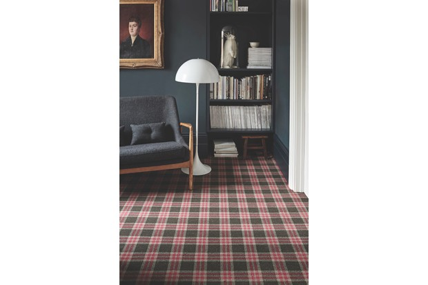 Bold tartan wallpaper against a dark grey wall