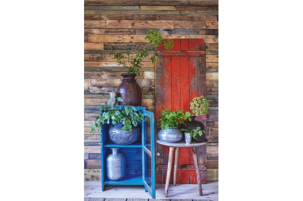 Indian metal vases filled with natural greenery in front of a wooden door