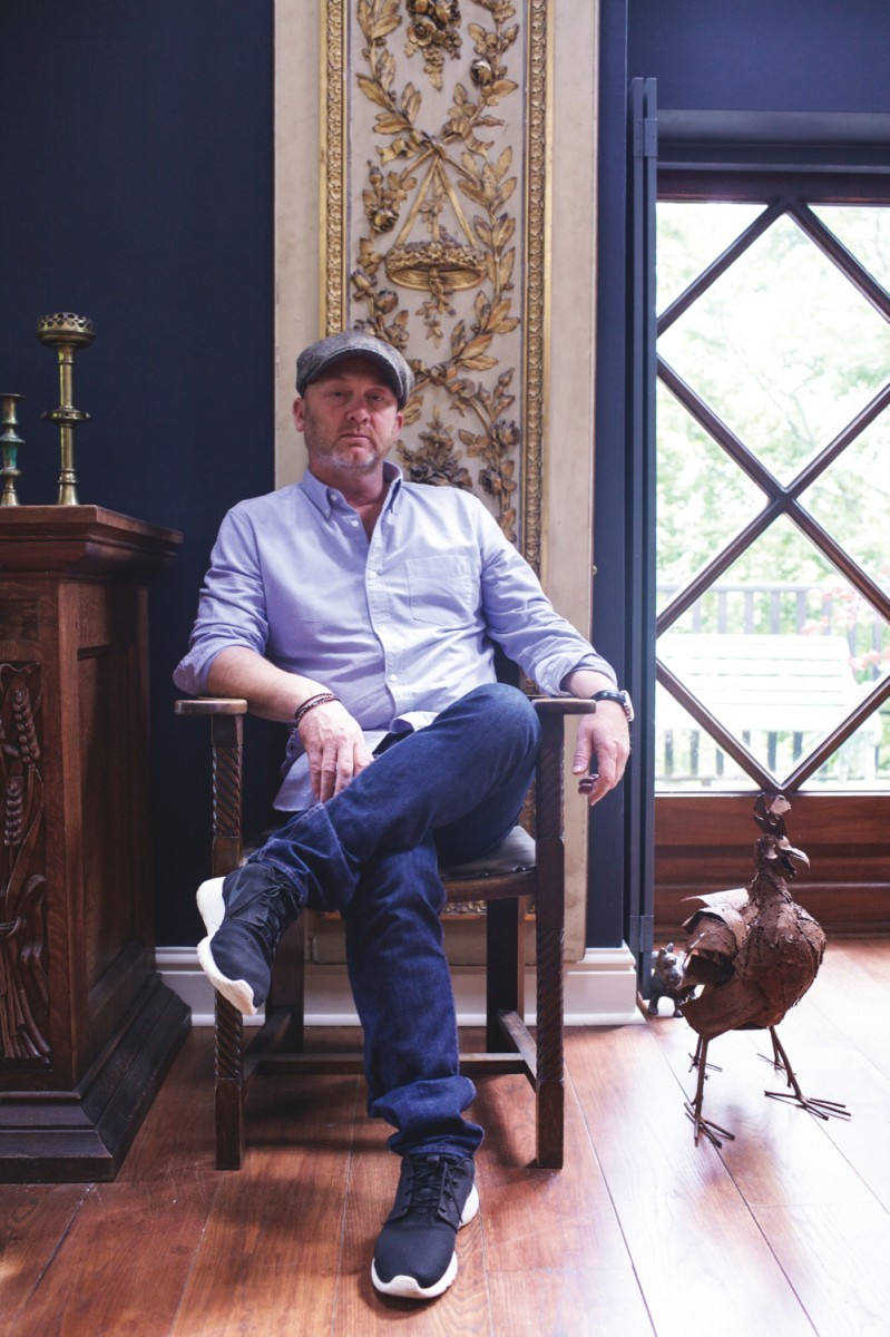 Antiques and restoration expert Drew Pritchard at his home