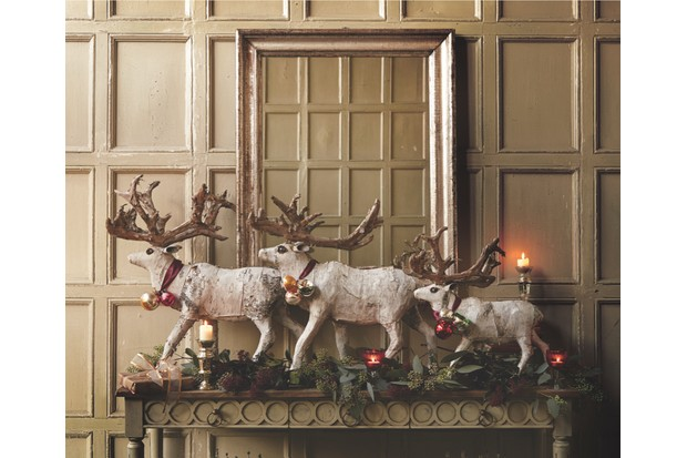 A collection of birch reindeer on display