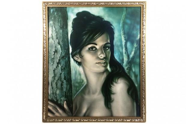 A vintage kitsch portrait of a woman
