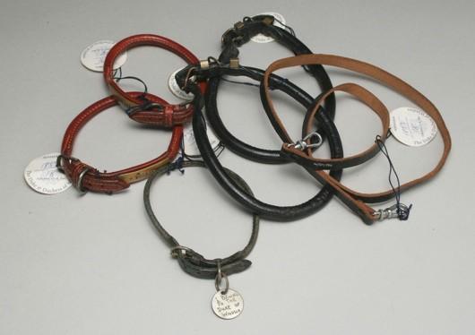 A collection of royal dog collars