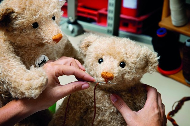 Steiff teddy bears being handstitched