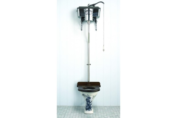 A blue and white lavatory pan with a high level cistern