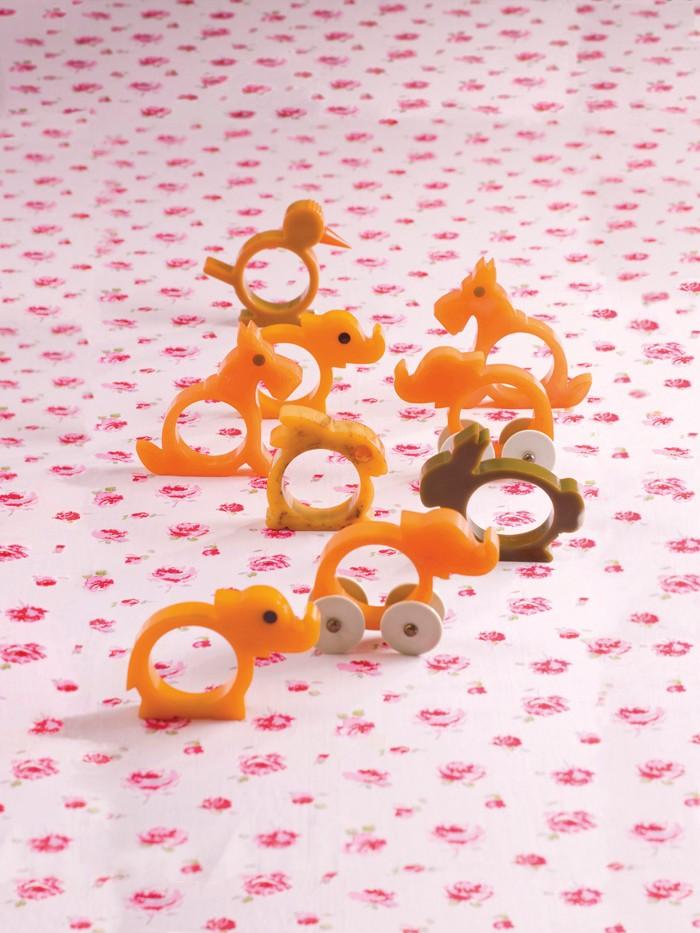 Bakelite animal napkin rings in orange