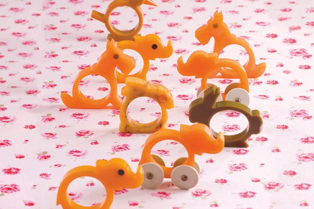 Bakelite animal napkin rings in orange