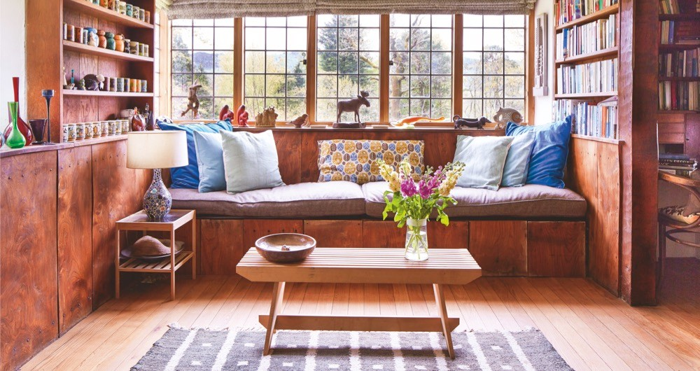 A window seating area at Peter Francis' 20th century Arts and Crafts home