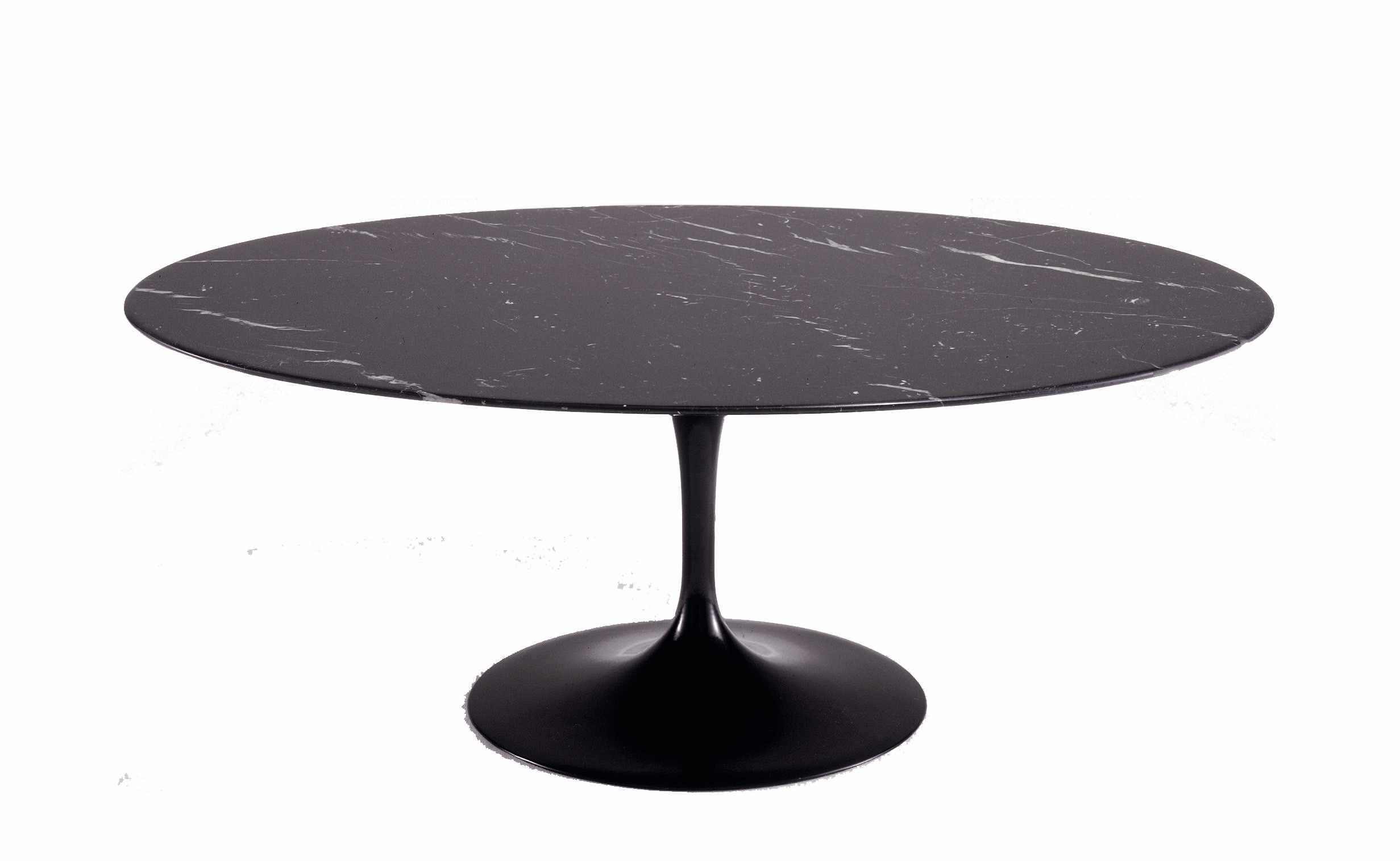 Saarinen for Knoll 'Tulip' table with 'Nero Marquina' marble top