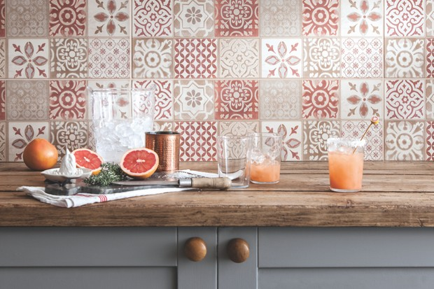 Image of orange tiles with grey cabinets