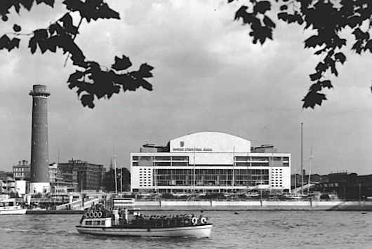 The exterior of the Royal Festival Hall seen across the Thames