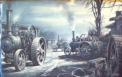 A vintage kitsch print of steam engines