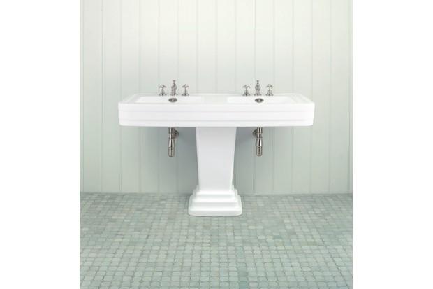 A white art deco double basin