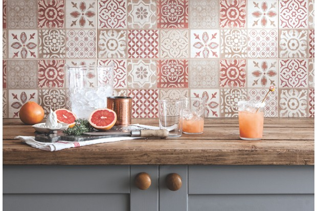 'Copper Leaf' glass tiles, 600 x 300mm, £54.95 per tile from the 'Glassworks' collection by Original Style