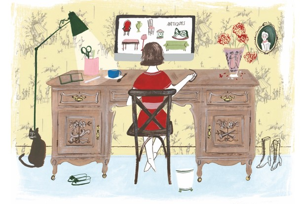 An illustration of someone looking at antiques on their computer
