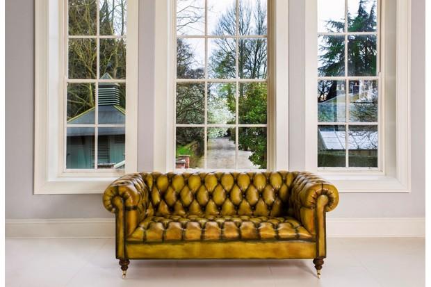 Gold Leather sofa