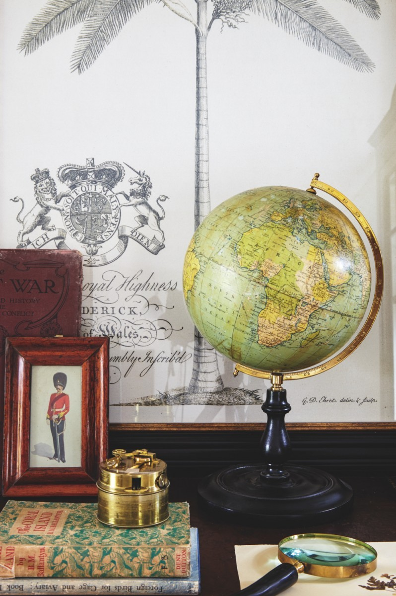 A vintage globe atop a desk