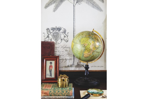 A globe sat on a desk