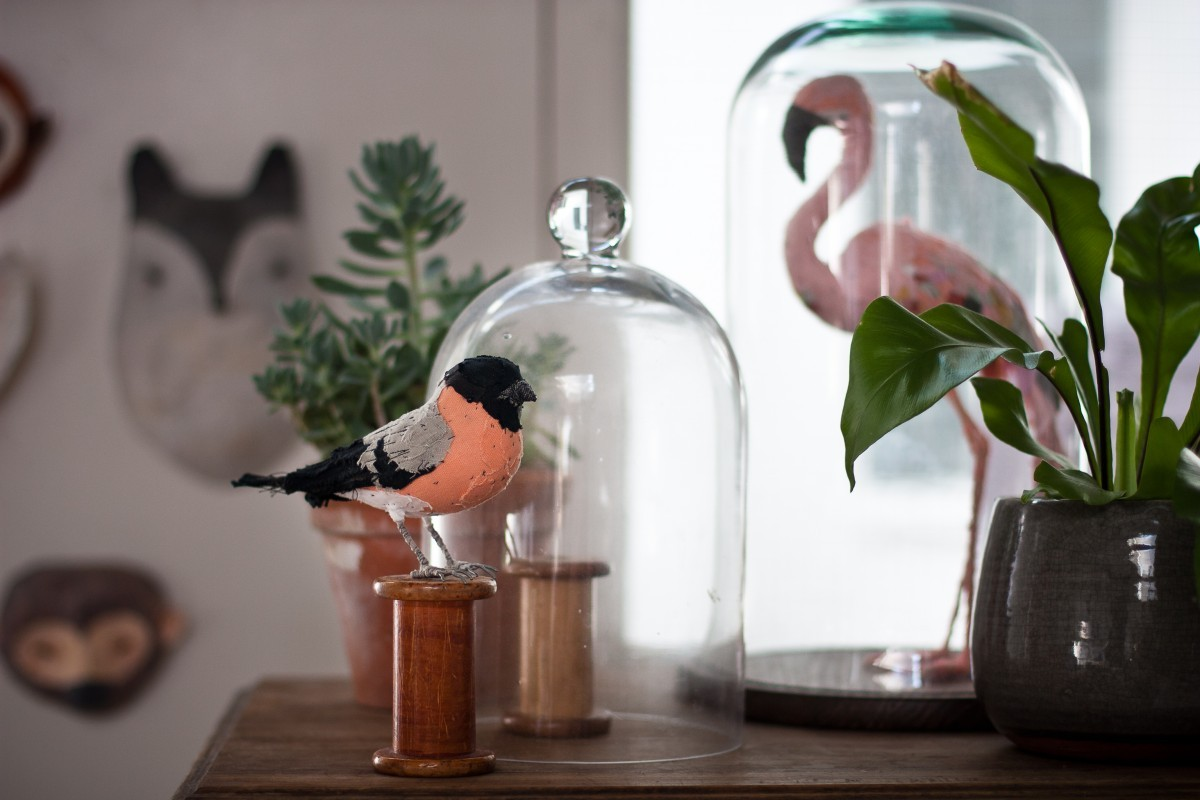Fabric bird by artist and illustrator Abigail Brown