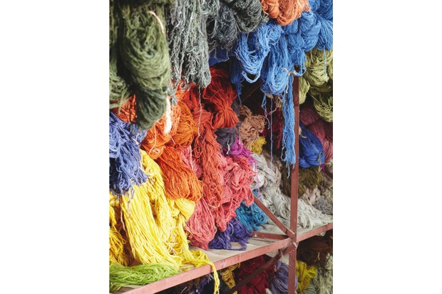 Different coloured wool threads