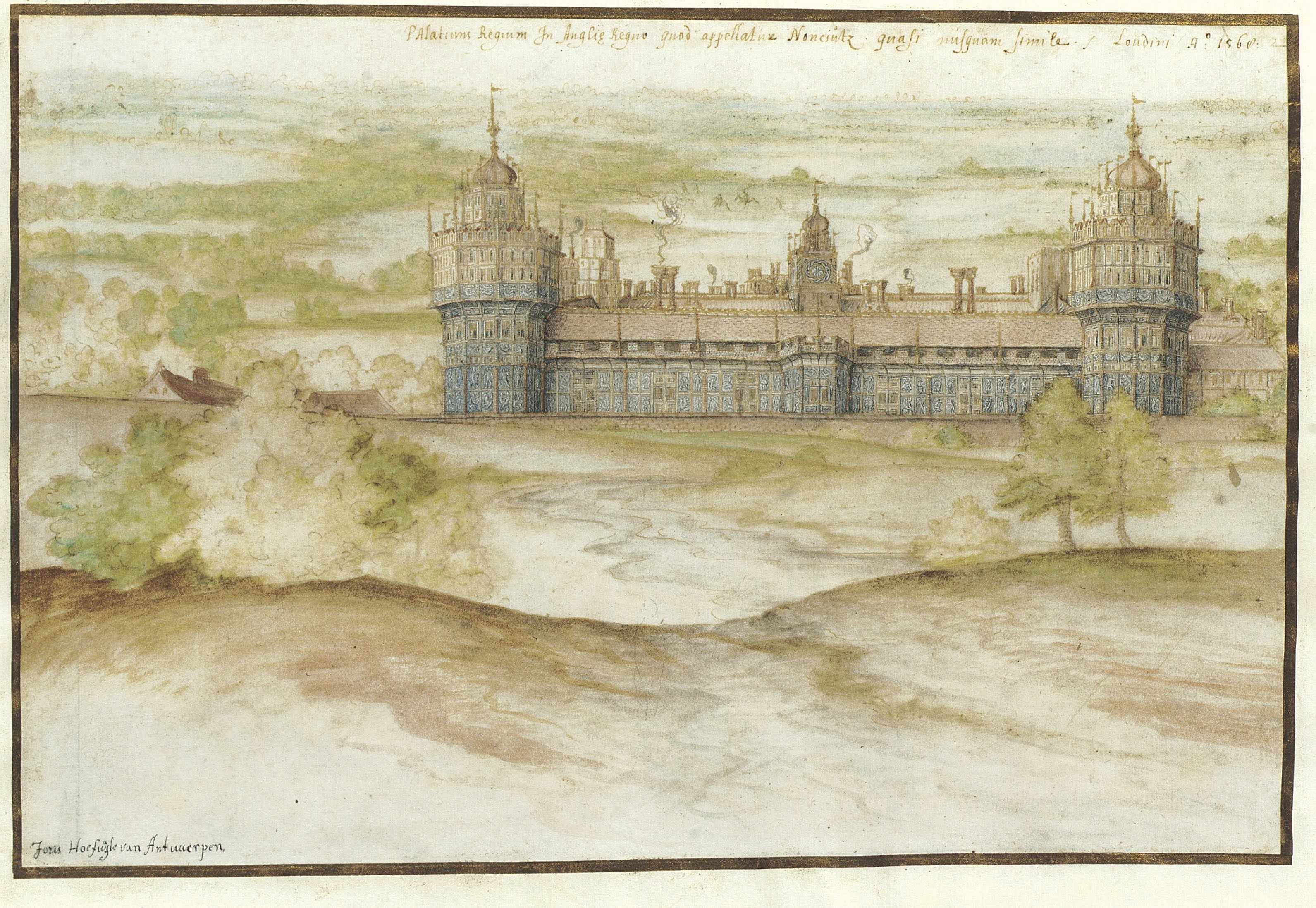 Watercolour of Nonsuch Palace by Joris Hoefnagel