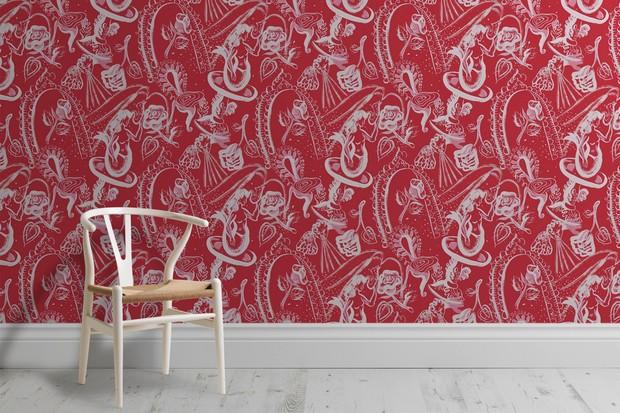 Image: 'Mermaid, Cherub and Chair' in fushcia wall mural, £60 per sq m, Surface View
