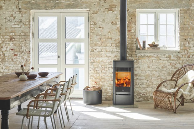 Wood burning stove in a contemporary home