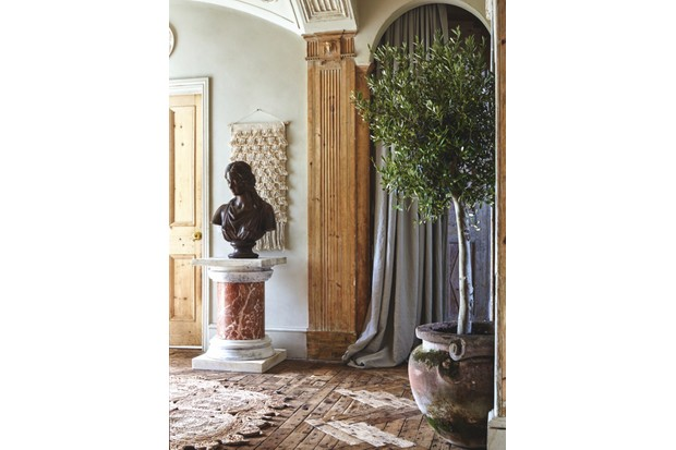 A Terracotta bust sits on a marbled plinth next to a macrame wall hanging and a potted olive tree
