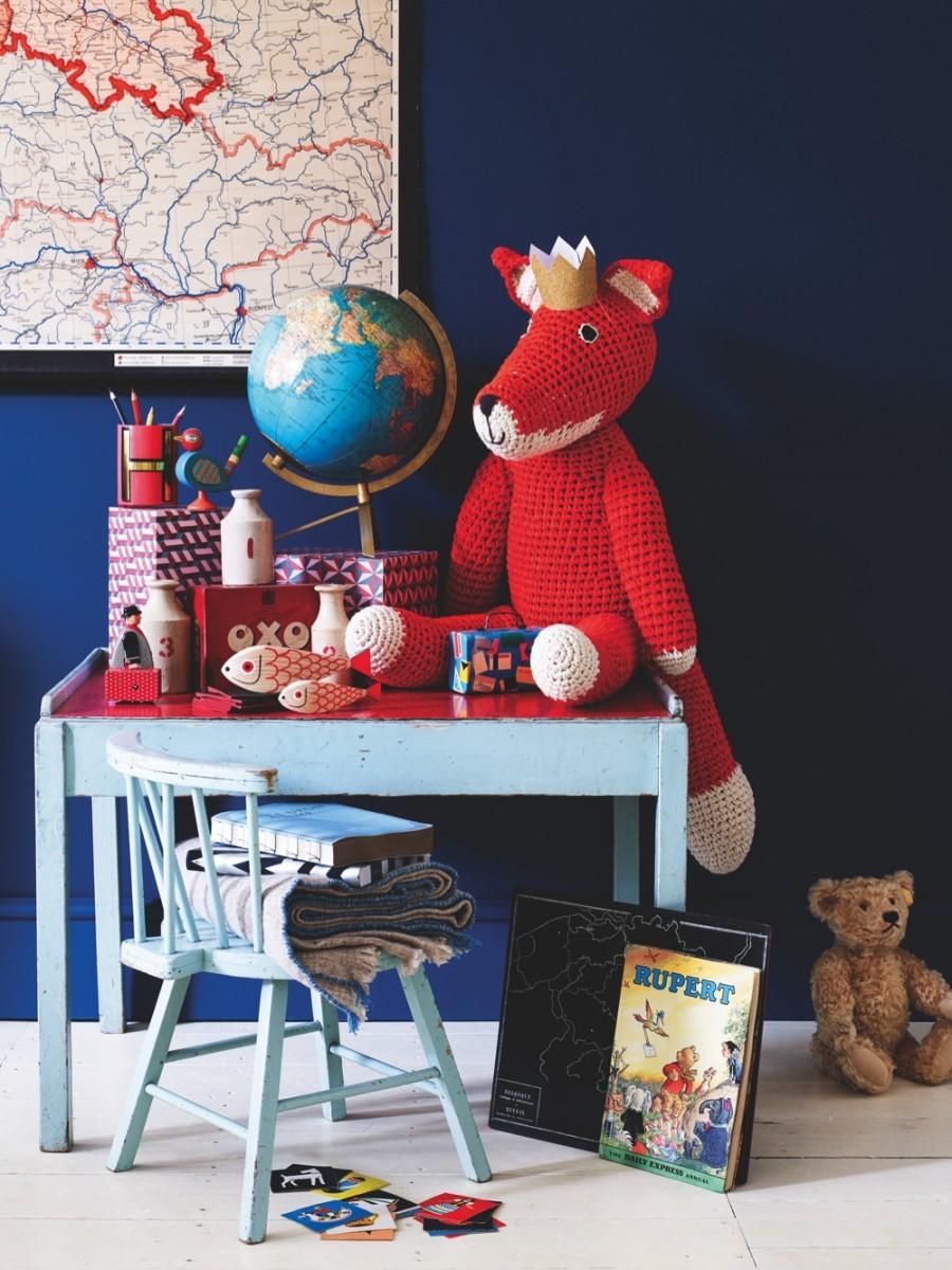 Folk-style children's gifts atop a child's desk