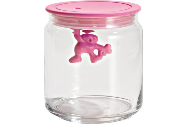 A container with a pink lid