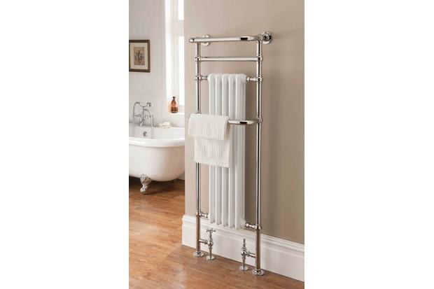 An antique-style heated towel rail