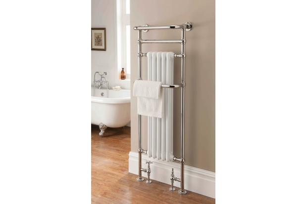 An antique-style heated towel rail