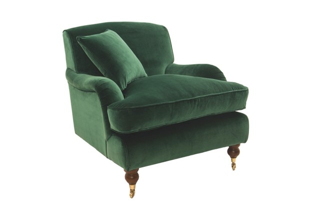 Georgian-style Campden armchair in green, with exposed feet