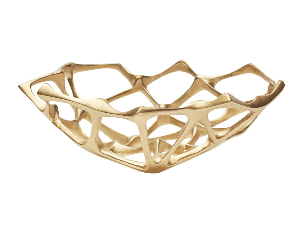 Sculpted 'Bone Bowl' in brass, with a matte finish
