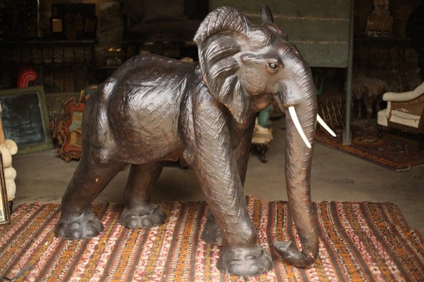 A large 20th-century leather elephant