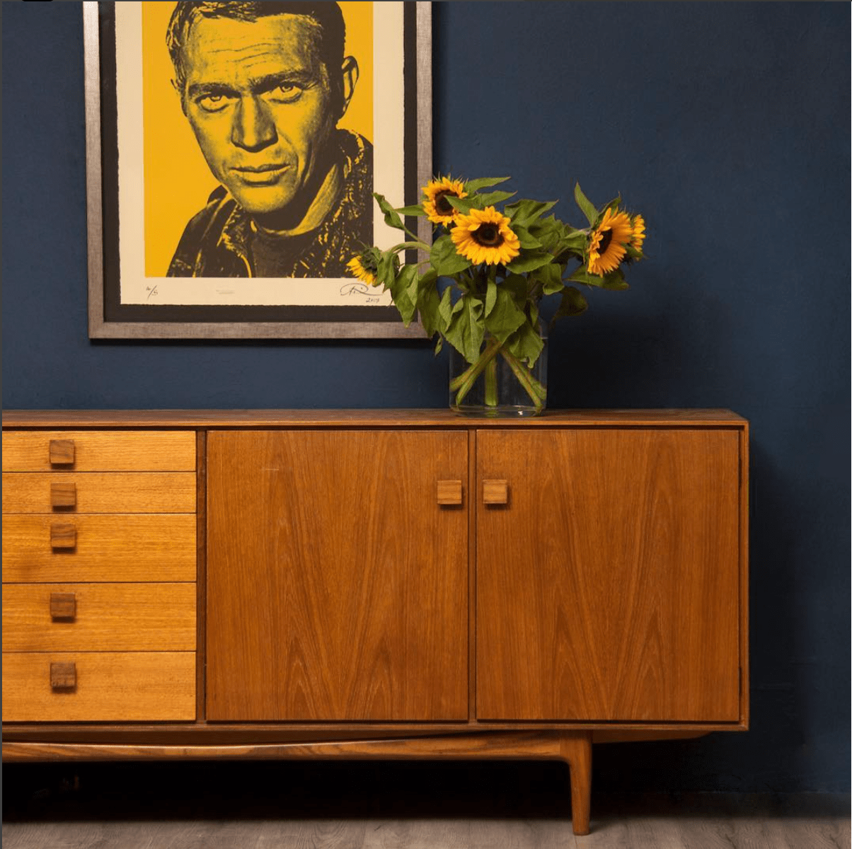 The Old Cinema Instagram image of mid-century sideboard