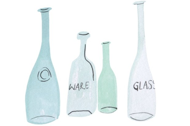 An illustration of four antique glass bottles