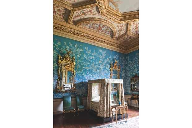 The Cabinet of Houghton Hall. The wallpaper was hand-painted in China