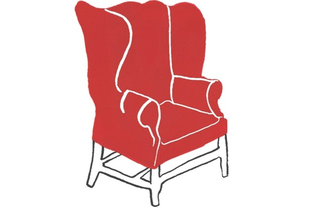 An illustration of a red vintage armchair