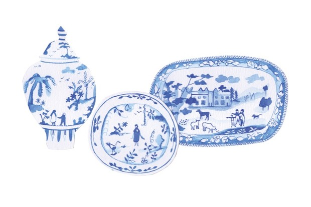 A illustration of vintage blue and white china