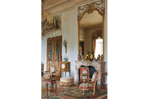 The fireplace in the grey drawing room