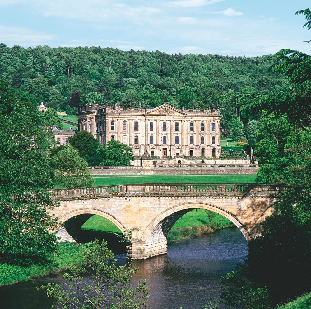 The exterior of Chatsworth house