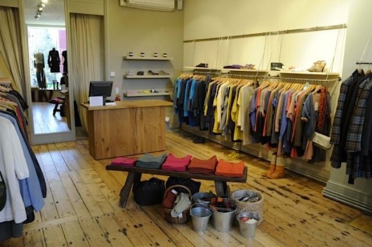 Interior shot of a clothing shop selling vintage items
