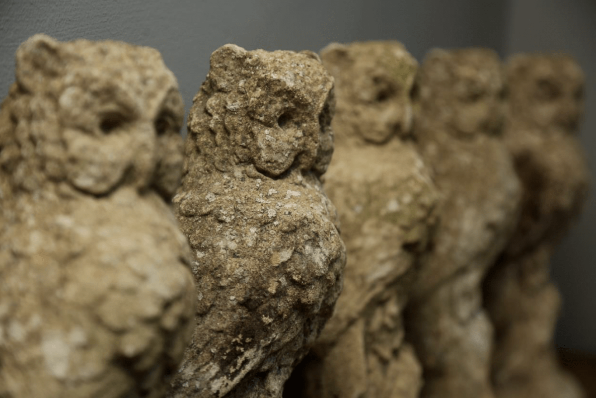 A parliament of stone owls from Vagabond Antiques, which made its debut at the Bath Decorative Antiques Fair in 2017