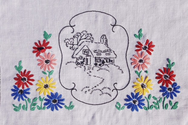 An embroidered tablecloth